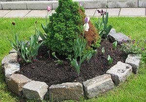 Огради за легла и тревни площи от камък и тухли - опции