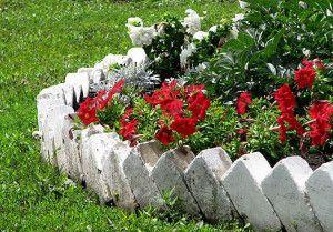 Огради за легла и тревни площи от камък и тухли - опции за снимки
