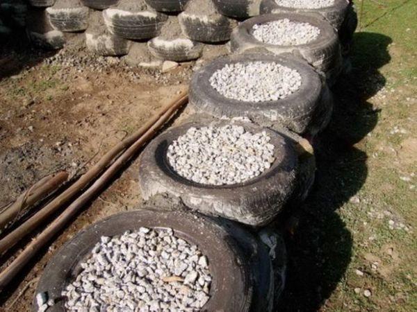 Пълнене на гуми с чакъл